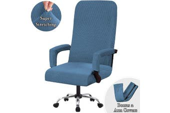 (Large, Dusty Blue) - Flamingo P High Stretch Office Chair Cover Form Fit Stretch Modern Removable Washable High Dining Chair Protector Cover Chair Slipcover for Home, Dining Room - Dusty Blue - Large Size