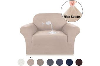 (Sand) - Turquoize Velvet Plush Strapless Chair Slipcover, Stretch Chair Cover, Water Repellent Spandex Slipcovers for Chairs, Velvet Plush Sofa Slipcover Slid Resistant Furniture Protector (Chair, Sand)