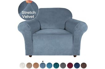(Stone Blue) - Turquoize Velvet Chair Slipcover with Elastic Bottom Spandex 1 Seater Cushion Couch Cover Furniture Protector Cover for Sofa and Couch (Chair, Stone Blue)