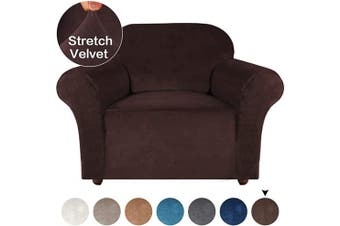 (Brown) - Turquoize Stretch Chair Sofa Slipcover Velvet Chair Cover Plush Couch Sofa Cover Furniture Protector Chair Couch Cover Soft with Elastic Bottom Spandex Slipcovers for Chair Protector (Chair, Brown)