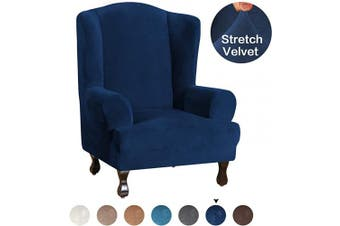 (Navy) - Turquoize Wing Chair Slipcover Velvet Wing Back Arm Chair Furniture Cover Slipcover Ultra Soft Plush Sofa Covers 1 Piece Super Stretch Stylish Furniture Cover/Wingback Chair Cover, Navy