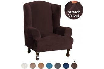(Brown) - Turquoize Stretch Wing Chair Slipcover Wingback Armchair Chair Slipcovers Sofa Covers 1-Piece Spandex Fabric Wing Back Wingback Armchair Chair Slipcovers Machine Washable, Brown