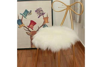 (0.5m x 0.5m, White) - Eanpet Faux Sheepskin Chair Pad Round Cover Seat Cushion Pad Soft Fluffy Area Rug for Area Rugs for Chair Seat Pad Couch Pad Area Natural Rugs White 0.5m x 0.5m