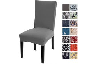 (Pack of 1, Grey) - Printed Dining Chair Slipcovers, Removable Washable Soft Spandex Stretch Chair Covers Banquet Chair Seat Protector Slipcover for Kitchen Home Hotel (Set of 1, Grey)