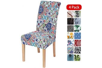 (4PCS Chair Covers, Colorful Vintage) - smiry Stretch Printed Dining Chair Covers, Spandex Removable Washable Dining Chair Protector Slipcovers for Home, Kitchen, Party, Restaurant - Set of 4, Colourful Vintage