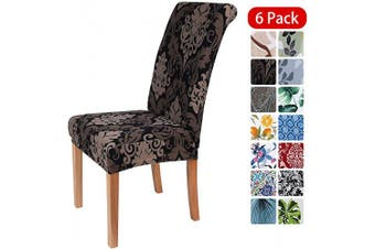 (6PCS Chair Covers, Black Vintage) - smiry Stretch Printed Dining Chair Covers, Spandex Removable Washable Dining Chair Protector Slipcovers for Home, Kitchen, Party, Restaurant - Set of 6, Black Vintage