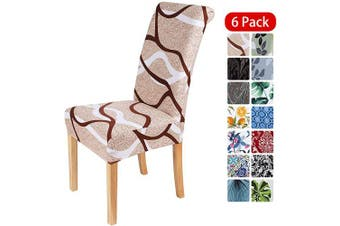 (6PCS Chair Covers, Khaki) - smiry Stretch Printed Dining Chair Covers, Spandex Removable Washable Dining Chair Protector Slipcovers for Home, Kitchen, Party, Restaurant - Set of 6, Khaki