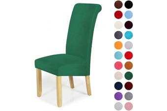 (2-Large, Dark Green) - Velvet Stretch Dining Chair Slipcovers - Spandex Plush Short Chair Covers Solid Large Dining Room Chair Protector Home Decor Set of 2, Dark Green