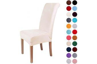 (2-Medium, Ecru) - Colorxy Velvet Spandex Fabric Stretch Dining Room Chair Slipcovers Home Decor Set of 2, Ecru