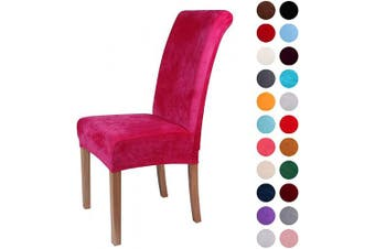 (2-Medium, Rose Red) - Colorxy Velvet Spandex Fabric Stretch Dining Room Chair Slipcovers Home Decor Set of 2, Rose Red