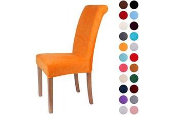 (6-Medium, Orange) - Colorxy Velvet Spandex Fabric Stretch Dining Room Chair Slipcovers Home Decor Set of 6, Orange