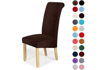 (2-Large, Dark Coffee) - Velvet Stretch Dining Chair Slipcovers - Spandex Plush Short Chair Covers Solid Large Dining Room Chair Protector Home Decor Set of 2, Dark Coffee