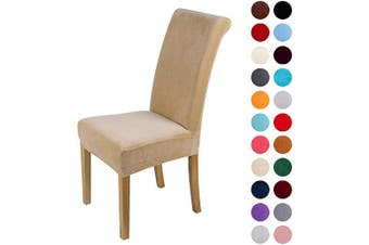 (6-Medium, Beige) - Colorxy Velvet Spandex Fabric Stretch Dining Room Chair Slipcovers Home Decor Set of 6, Beige