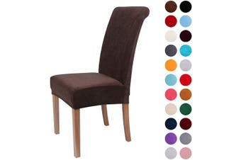 (4-Medium, Dark Coffee) - Colorxy Velvet Spandex Fabric Stretch Dining Room Chair Slipcovers Home Decor Set of 4, Dark Coffee