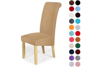 (4-Large, Beige) - Velvet Stretch Dining Chair Slipcovers - Spandex Plush Short Chair Covers Solid Large Dining Room Chair Protector Home Decor Set of 4, Beige
