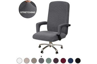 (Medium, Charcoal Gray) - Turquoize Office Chair Cover Stretch Grey Computer Chair Slipcovers for Universal Rotating Boss Chair Cover with Armrest Chair Cover Machine Washable with Jacquard Fabric Super Soft, Medium, Grey