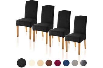 (4, Velvet Black) - TIANSHU Velvet Dining Chair Cover Soft Stretch Dining Room Chair Slipcover Set of 4, Black