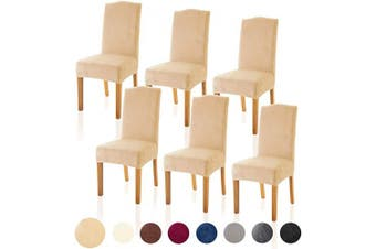 (6, Velvet Warm Sand) - TIANSHU Velvet Dining Chair Cover Soft Stretch Dining Room Chair Slipcover Set of 6, Warm Sand