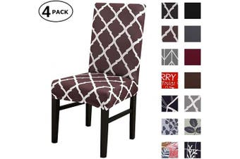 (4 Per Set, Color 12) - Dining Chair Cover Seat Protector Super Fit Slipcover Stretch Removable Washable Soft Spandex Fabric for Home Hotel Dining Room Ceremony Banquet Wedding Party Restaurant (Colour 12, 4 Per Set)