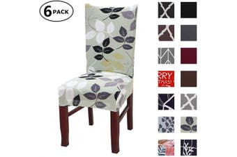 (6 Per Set, Color 04) - Dining Chair Cover Seat Protector Super Fit Slipcover Stretch Removable Washable Soft Spandex Fabric for Home Hotel Dining Room Ceremony Banquet Wedding Party Restaurant (Colour 4, 6 Per Set)