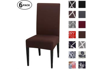 (6 Per Set, Color 08) - Dining Chair Cover Seat Protector Super Fit Slipcover Stretch Removable Washable Soft Spandex Fabric for Home Hotel Dining Room Ceremony Banquet Wedding Party Restaurant (Colour 8, 6 Per Set)