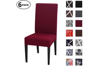 (6 Per Set, Color 09) - Dining Chair Cover Seat Protector Super Fit Slipcover Stretch Removable Washable Soft Spandex Fabric for Home Hotel Dining Room Ceremony Banquet Wedding Party Restaurant (Colour 9, 6 Per Set)