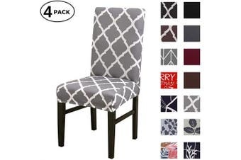 (4 Per Set, Color 06) - Dining Chair Cover Seat Protector Super Fit Slipcover Stretch Removable Washable Soft Spandex Fabric for Home Hotel Dining Room Ceremony Banquet Wedding Party Restaurant (Colour 6, 4 Per Set)
