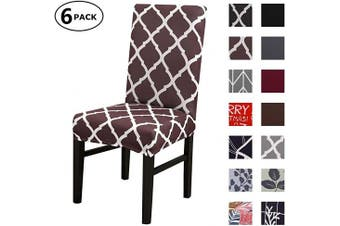 (6 Per Set, Color 12) - Dining Chair Cover Seat Protector Super Fit Slipcover Stretch Removable Washable Soft Spandex Fabric for Home Hotel Dining Room Ceremony Banquet Wedding Party Restaurant (Colour 12, 6 Per Set)