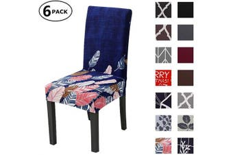 (6 Per Set, Color 01) - Dining Chair Cover Seat Protector Super Fit Slipcover Stretch Removable Washable Soft Spandex Fabric for Home Hotel Dining Room Ceremony Banquet Wedding Party Restaurant (Colour 1, 6 Per Set)