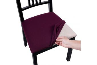 (Style A-4pcs, Dark Purple) - Homaxy Premium Jacquard Dining Room Chair Seat Covers, Washable Spandex Stretch Dinning Chair Upholstered Cushion Cover, Waffle Slipcover Protectors with Ties - Set of 4, Dark Purple