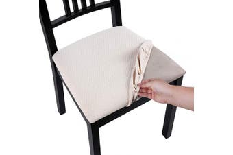 (Style A-4pcs, Beige) - Homaxy Premium Jacquard Dining Room Chair Seat Covers, Washable Spandex Stretch Dinning Chair Upholstered Cushion Cover, Waffle Slipcover Protectors with Ties - Set of 4, Beige