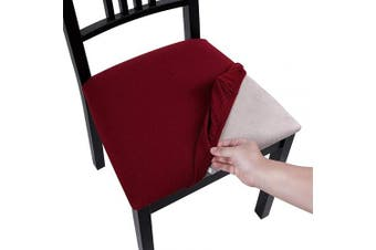 (Style A-4pcs, Burgundy) - Homaxy Premium Jacquard Dining Room Chair Seat Covers, Washable Spandex Stretch Dinning Chair Upholstered Cushion Cover, Waffle Slipcover Protectors with Ties - Set of 4, Burgundy
