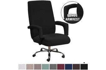 (Large, Black) - H.VERSAILTEX Office Chair Cover Black - Protective & Stretchable Universal Chair Covers Stretch Rotating Chair Slipcover Lycra Jacquard Computer Office Chair Cover, Machine Washable, Large