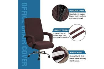 (Large, Chocolate) - H.VERSAILTEX High Stretch Office Chair Cover, Jacquard Computer Office Chair Covers Jacquard Lycra Universal Boss Chair Covers Modern Simplism Style High Back Chair Slipcover (Large, Chocolate)