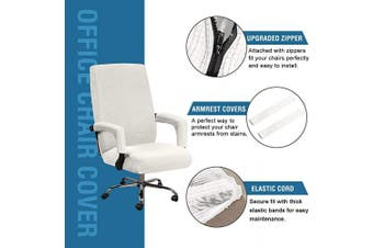 (Large, Ivory White) - H.VERSAILTEX Office Chair Cover Stretch High Back Large Size, Universal Chair Cover for Computer Chair Executive Chair Rotating Swivel Chair Boss Chair Slipcovers Modern Style(Large, Ivory White)
