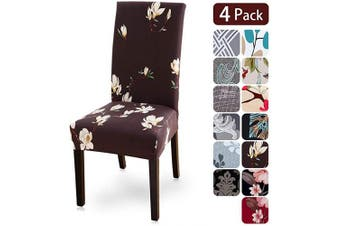 (4 per set, Flower5) - Dining Room Chair Covers Slipcovers Set of 4, Spandex Fabric Fit Stretch Removable Washable Kitchen Chair Covers Protector for Dining Room, Hotel, Ceremony (flower5, 4 per Set)