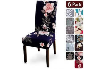 (6 per set, Flower4) - Dining Room Chair Covers Slipcovers Set of 6, Spandex Fabric Fit Stretch Removable Washable Kitchen Chair Covers Protector for Dining Room, Hotel, Ceremony (flower4, 6 per Set)