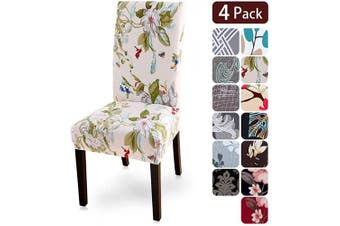 (4 per set, Flower2) - Dining Room Chair Covers Slipcovers Set of 4, Spandex Fabric Fit Stretch Removable Washable Kitchen Chair Covers Protector for Dining Room, Hotel, Ceremony (flower2, 4 per Set)