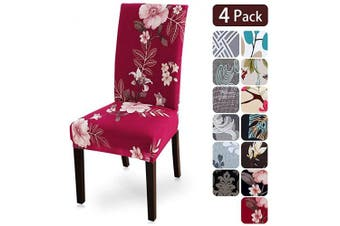 (4 per set, Flower1) - Dining Room Chair Covers Slipcovers Set of 4, Spandex Fabric Fit Stretch Removable Washable Kitchen Chair Covers Protector for Dining Room, Hotel, Ceremony (flower1, 4 per Set)