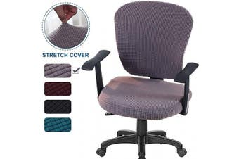 (Light Grey) - CAVEEN Office Chair Covers 2piece Stretchable Computer Office Chair Cover Universal Chair Seat Covers Stretch Rotating Chair Slipcovers Washable Spandex Desk Chair Cover Protectors (Light Grey)
