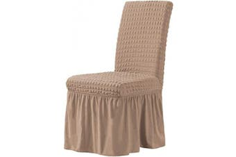 (Dark Khaki) - CHUN YI Stretchy Universal Easy Fitted Dining Chair Cover Slipcovers with Skirt, Removable Washable Anti-Dirty Furniture Protector for Kids Pets Home Ceremony Banquet Wedding Party (Dark Khaki)