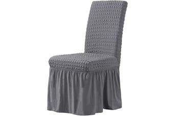 (Gray) - CHUN YI Stretchy Universal Easy Fitted Dining Chair Cover Slipcovers with Skirt, Removable Washable Anti-Dirty Furniture Protector for Kids Pets Home Ceremony Banquet Wedding Party (Grey)