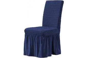(Navy) - CHUN YI Stretchy Universal Easy Fitted Dining Chair Cover Slipcovers with Skirt, Removable Washable Anti-Dirty Furniture Protector for Kids Pets Home Ceremony Banquet Wedding Party (Navy)