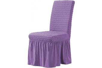 (Lavender) - CHUN YI Stretchy Universal Easy Fitted Dining Chair Cover Slipcovers with Skirt, Removable Washable Anti-Dirty Furniture Protector for Kids Pets Home Ceremony Banquet Wedding Party (Lavender)