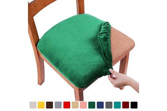 (2PCS, Green) - smiry Original Velvet Dining Chair Seat Covers, Stretch Fitted Dining Room Upholstered Chair Seat Cushion Cover, Removable Washable Furniture Protector Slipcovers with Ties - Set of 2, Green