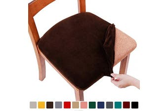 (6PCS, Coffee) - smiry Original Velvet Dining Chair Seat Covers, Stretch Fitted Dining Room Upholstered Chair Seat Cushion Cover, Removable Washable Furniture Protector Slipcovers with Ties - Set of 6, Coffee