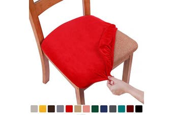 (2PCS, Red) - smiry Original Velvet Dining Chair Seat Covers, Stretch Fitted Dining Room Upholstered Chair Seat Cushion Cover, Removable Washable Furniture Protector Slipcovers with Ties - Set of 2, Red
