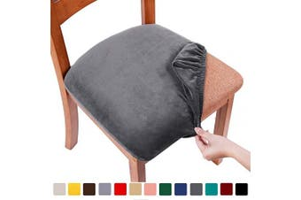 (2PCS, Dark Grey) - smiry Original Velvet Dining Chair Seat Covers, Stretch Fitted Dining Room Upholstered Chair Seat Cushion Cover, Removable Washable Furniture Protector Slipcovers with Ties - Set of 2, Dark Grey