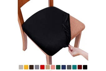 (6PCS, Black) - smiry Original Velvet Dining Chair Seat Covers, Stretch Fitted Dining Room Upholstered Chair Seat Cushion Cover, Removable Washable Furniture Protector Slipcovers with Ties - Set of 6, Black