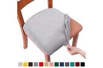 (2PCS, Light Grey) - smiry Original Velvet Dining Chair Seat Covers, Stretch Fitted Dining Room Upholstered Chair Seat Cushion Cover, Removable Washable Furniture Protector Slipcovers with Ties - Set of 2, Light Grey